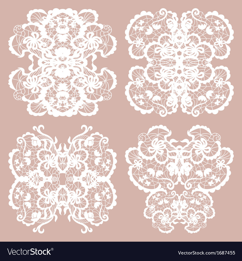 Set of lace ornaments vector