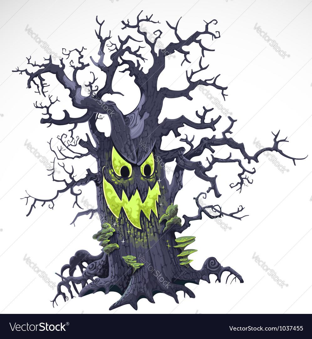 Terrible halloween cartoon tree with a grin vector