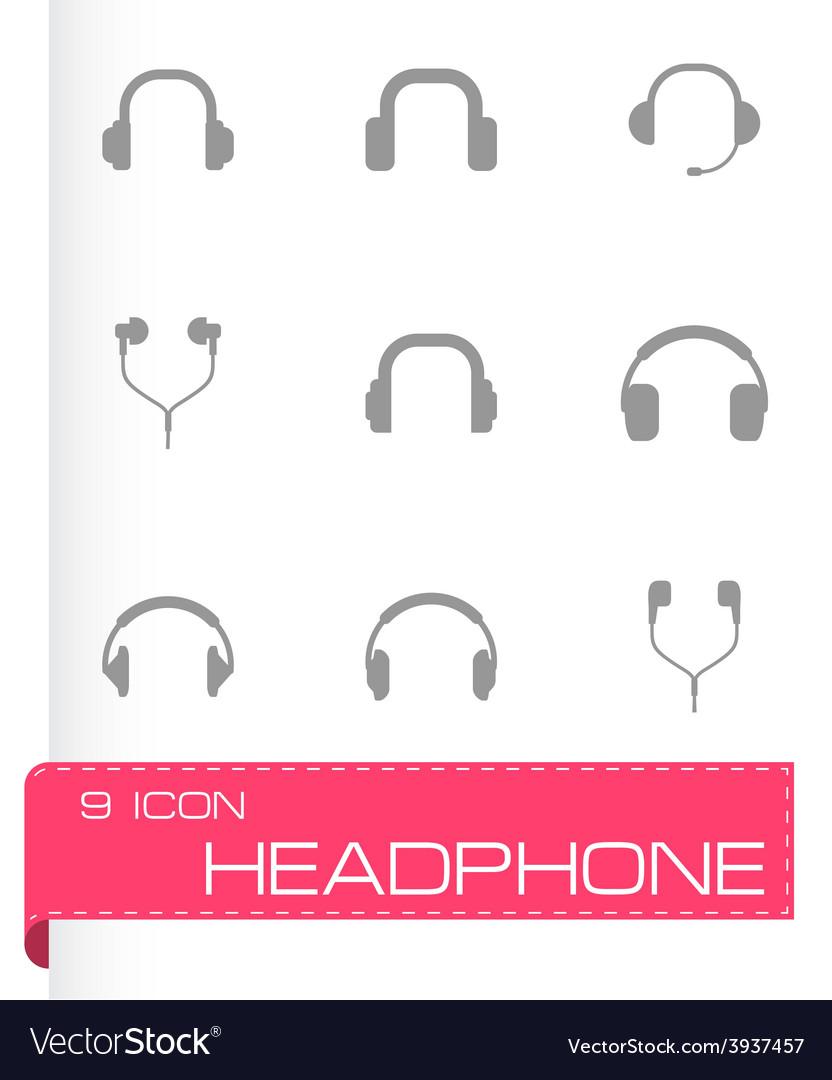 Headphone icon set vector