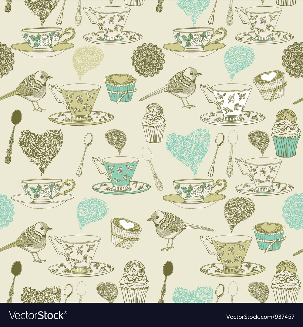 Vintage tea time pattern vector