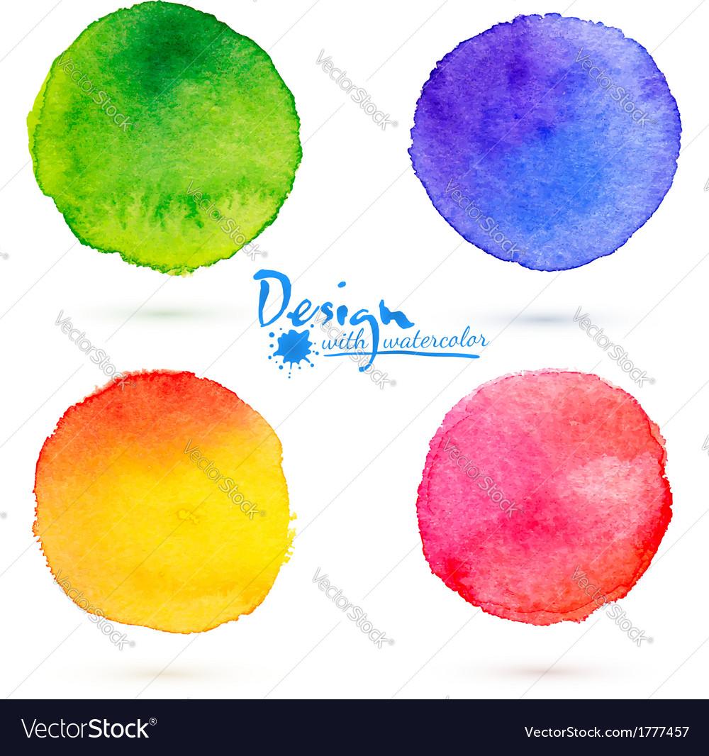 Watercolor circle splashes set vector