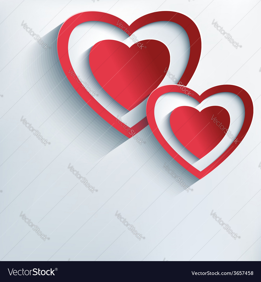 Love background with red paper 3d hearts vector