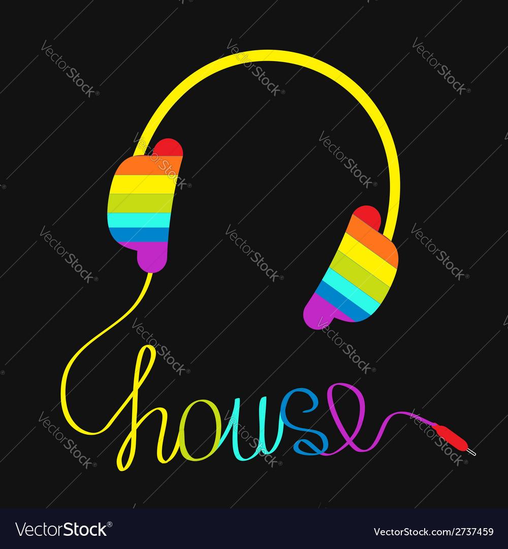 Rainbow headphones with cord house music vector