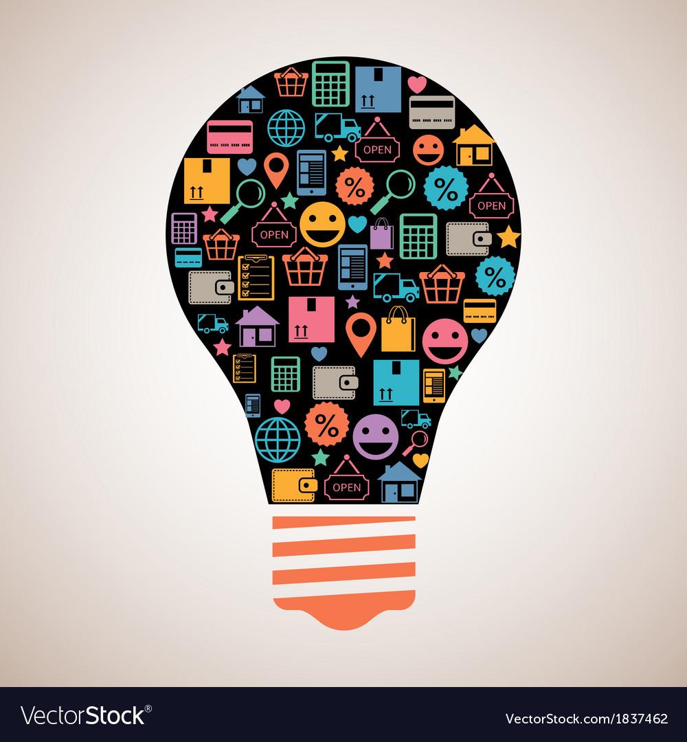 Online shopping creative light bulb vector
