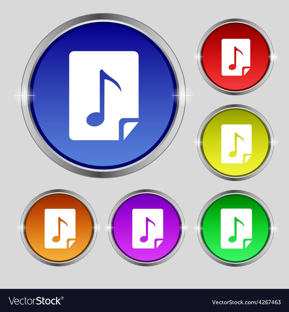 Audio mp3 file icon sign round symbol on bright vector