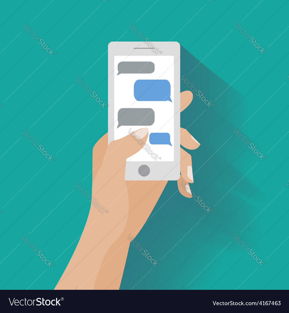 Hand holding smartphone with blank speech bubbles vector