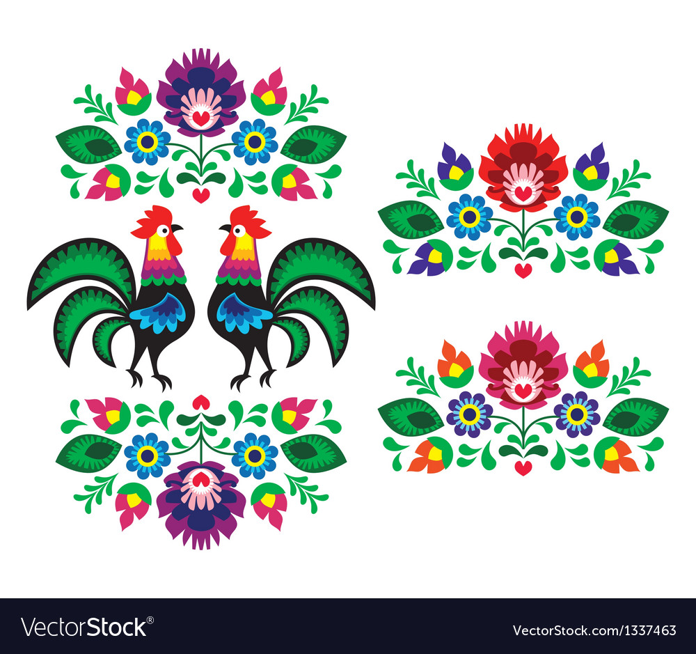 Polish ethnic floral embroidery with roosters vector