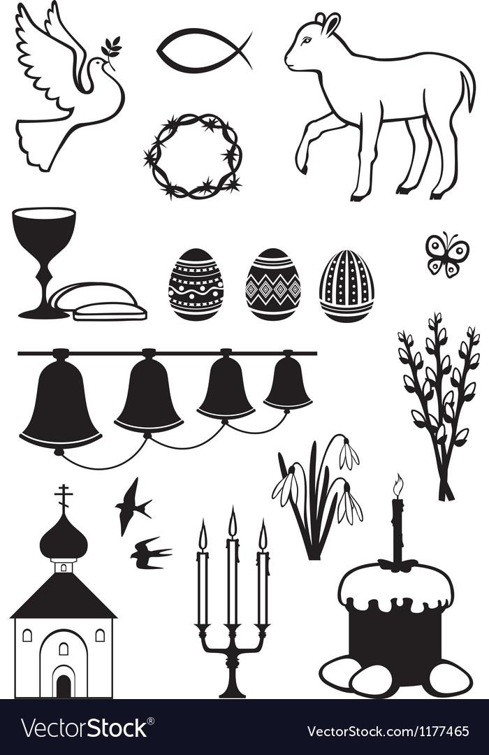 Easter set contour vector