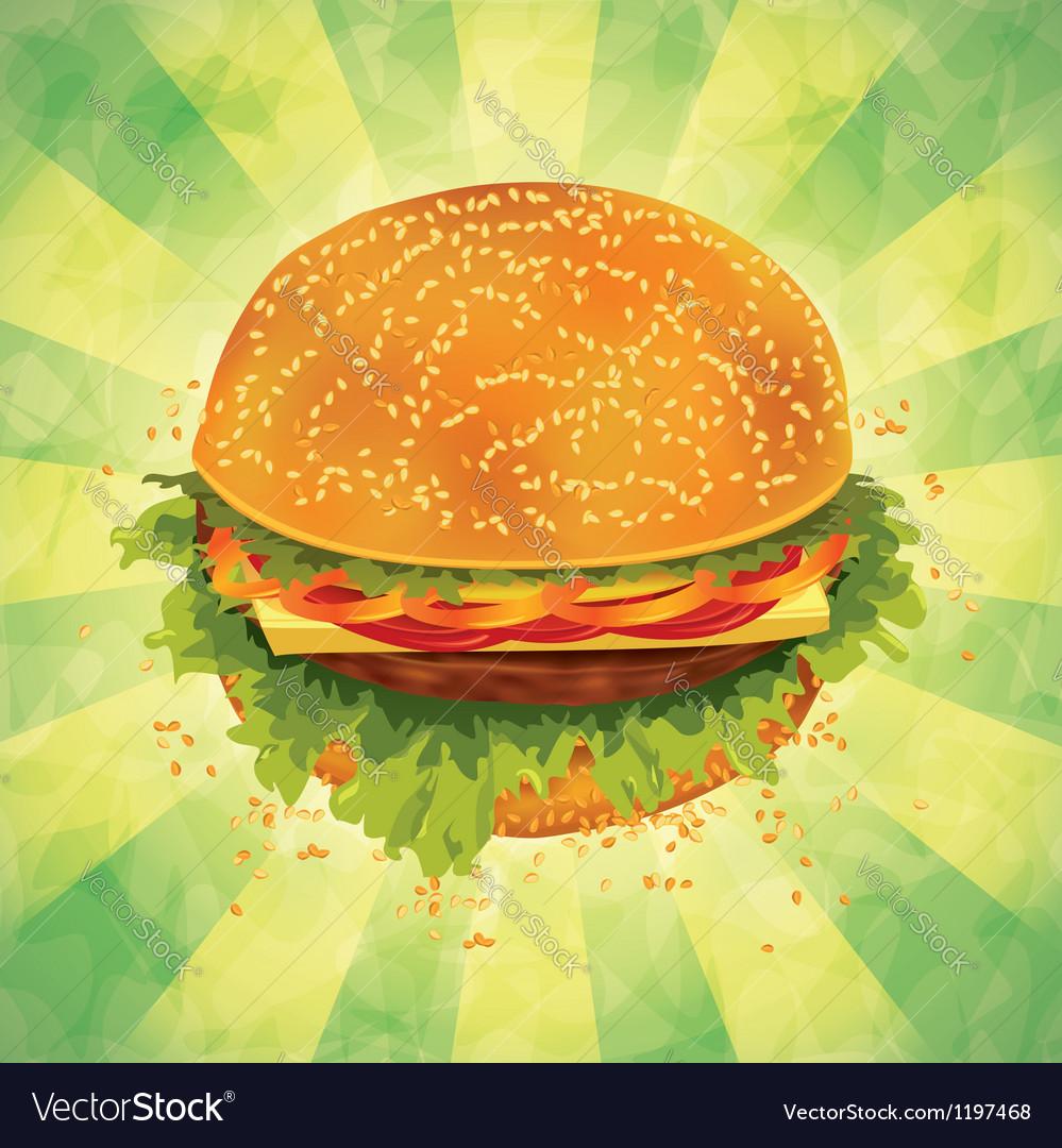 Tasty hamburger on grunge background vector