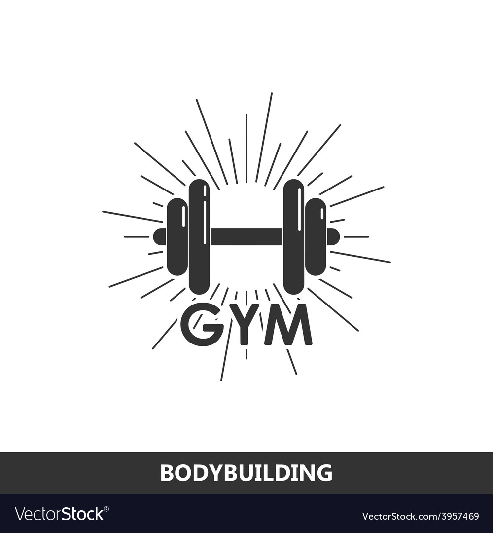 A dumbbell with burst light rays vector
