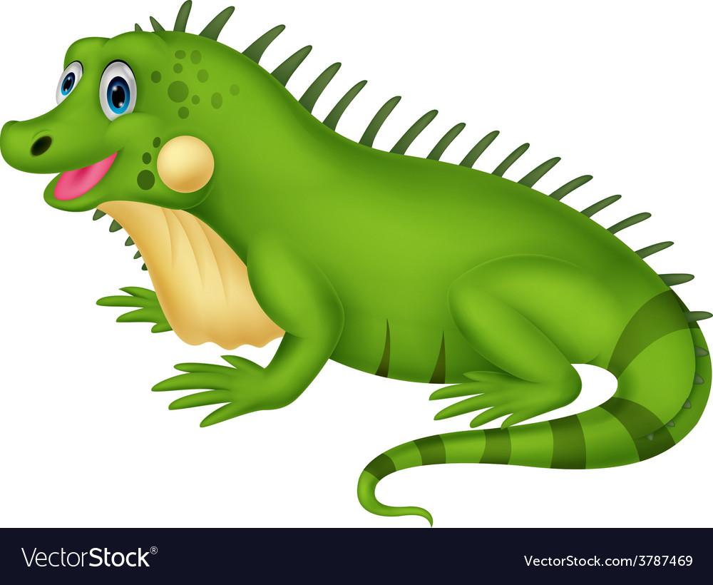 Cute iguana cartoon vector
