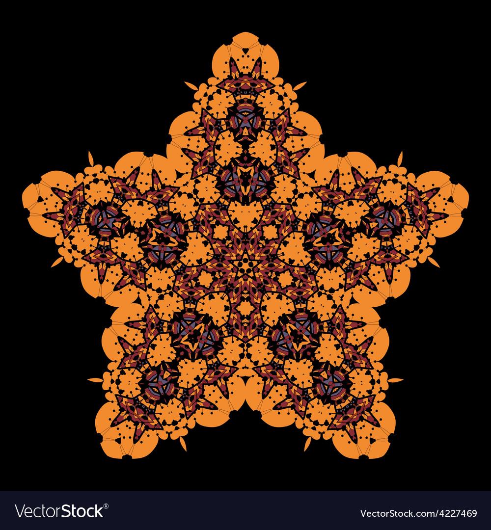 Tribal star on black ornamental colorful vector