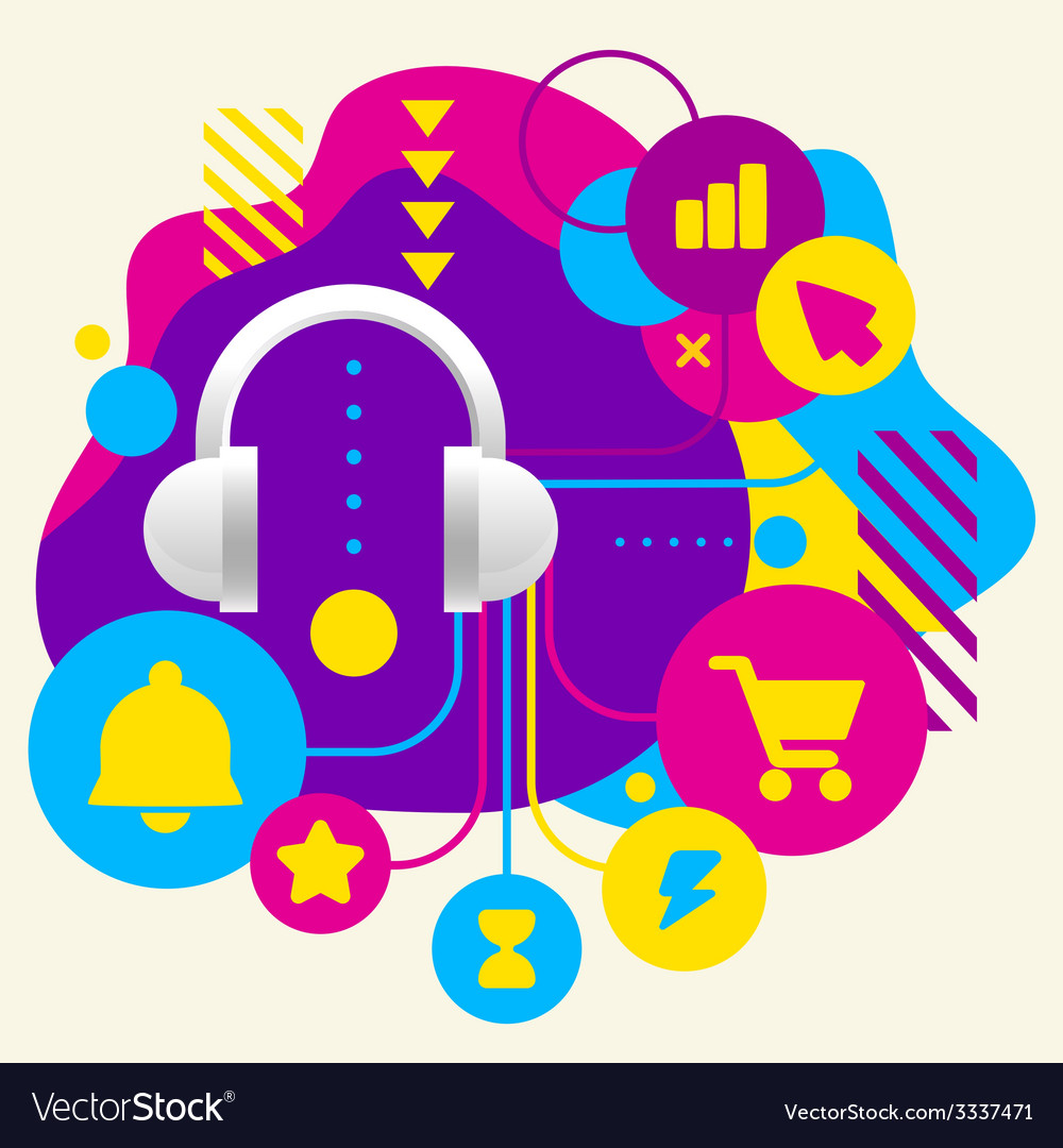 Headphones on abstract colorful spotted background vector