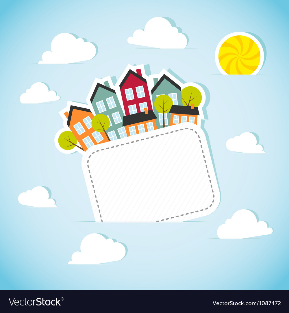 Paper banner with small town vector