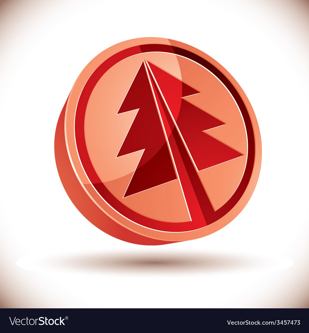 3d red round christmas tree icon vector