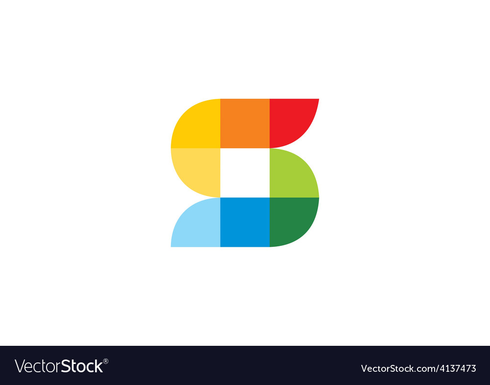 S abstract pixel colorful logo vector
