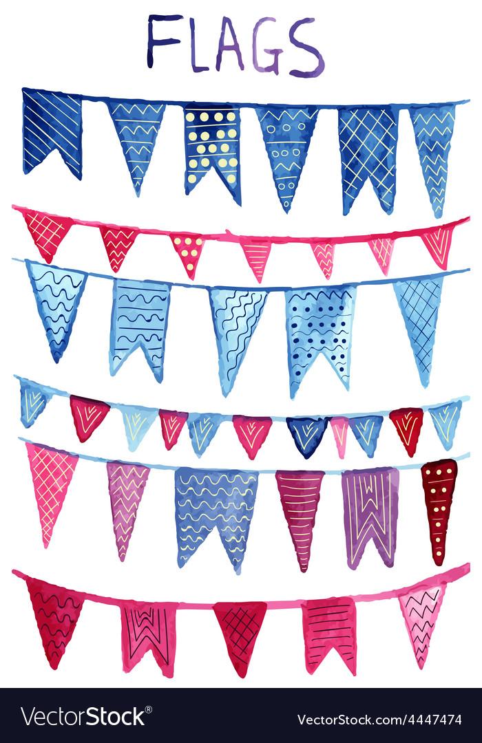Watercolor flags vector