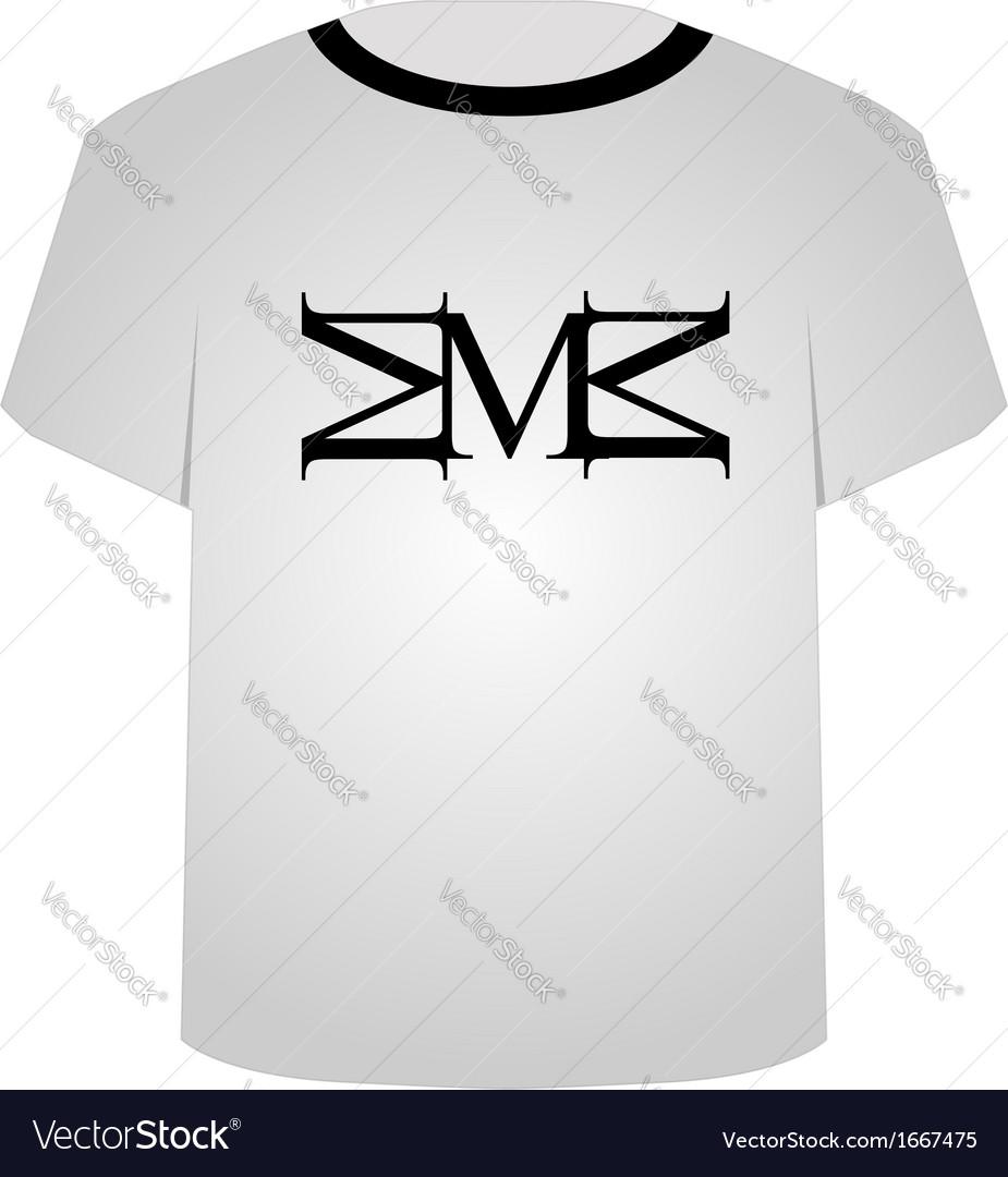 T shirt template- capital letter m vector