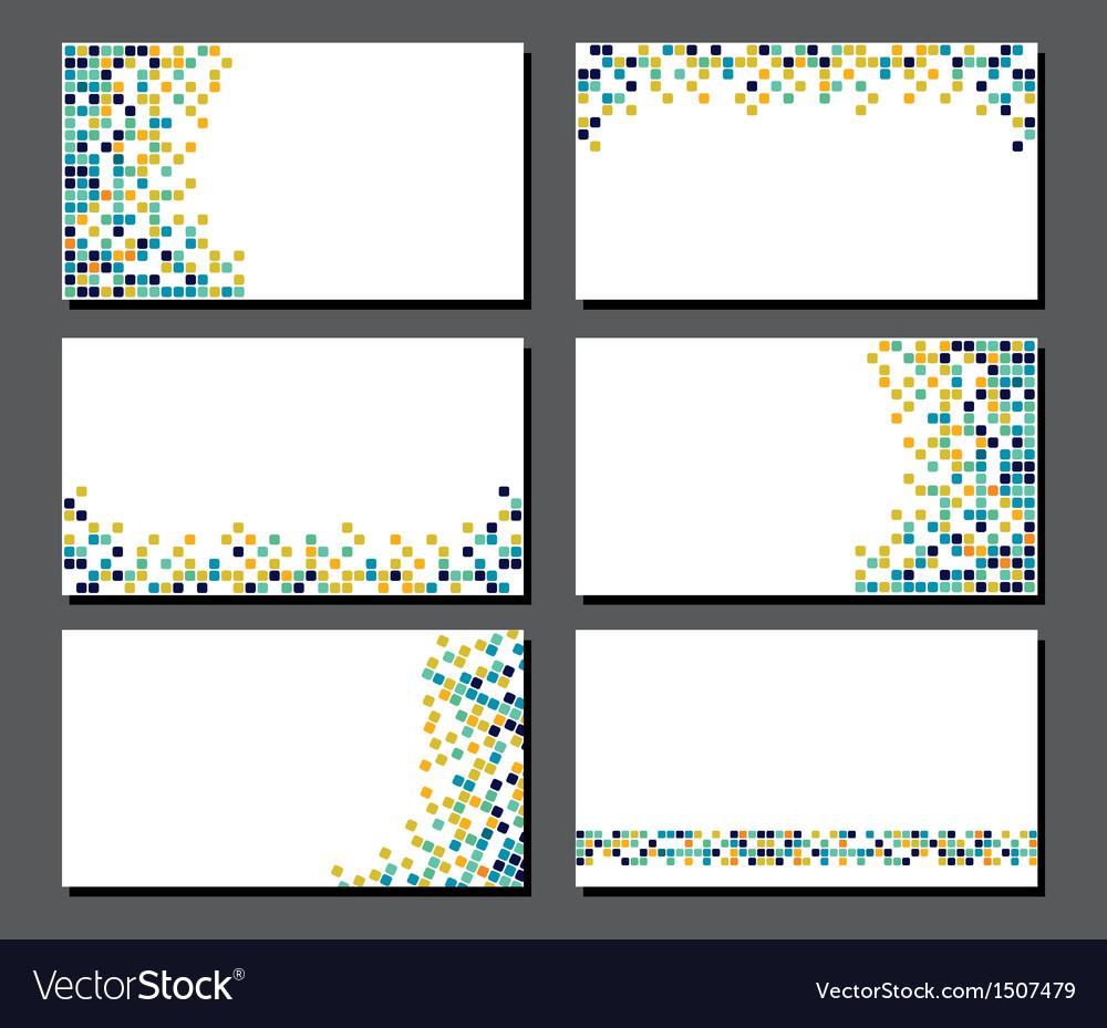 Set of business cards pixel art vector