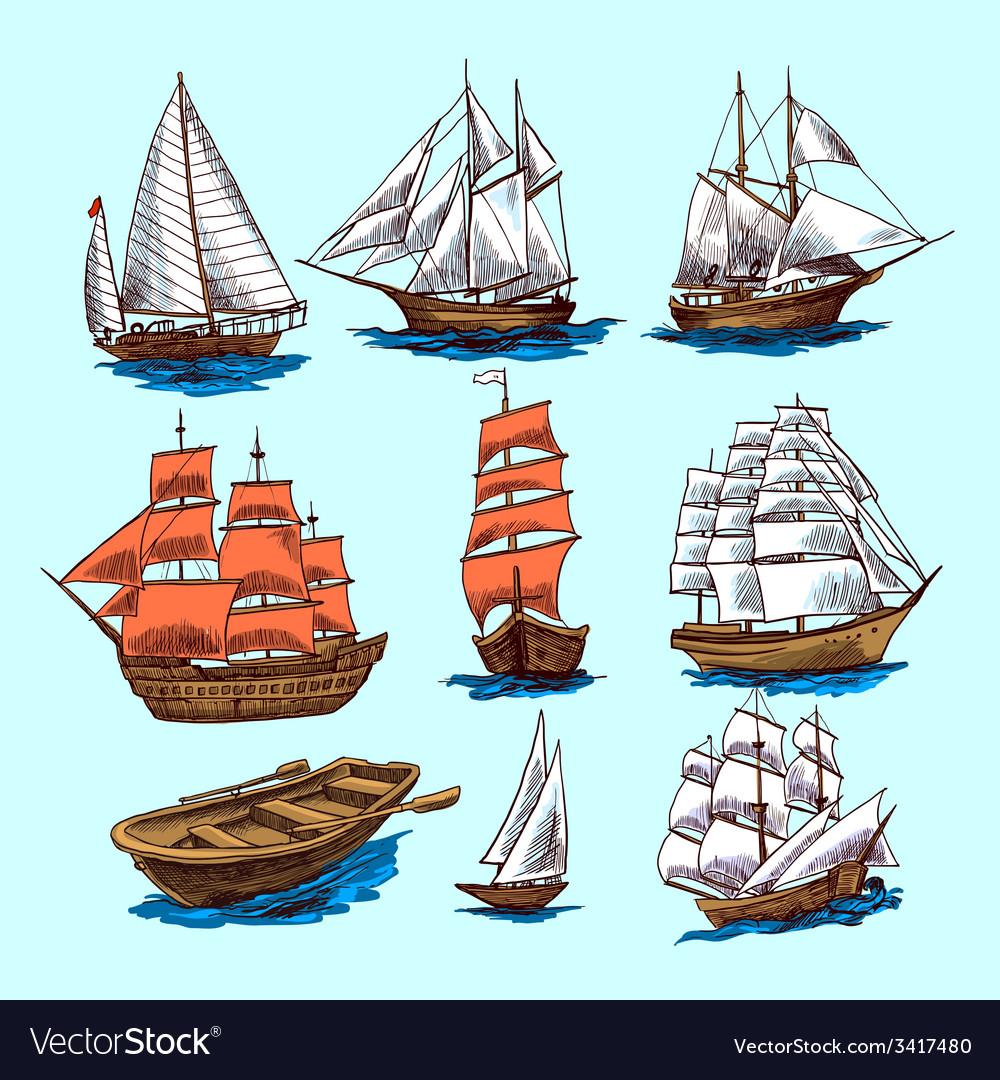 Ships and boats sketch set vector