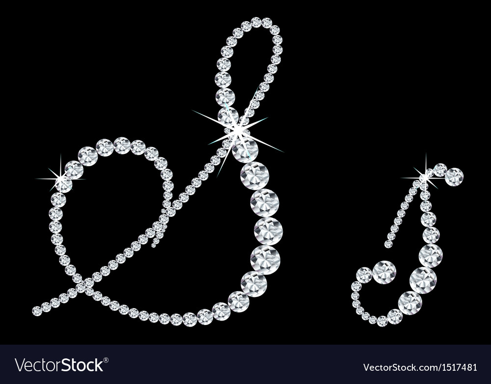 Diamond alphabetic letters of s vector