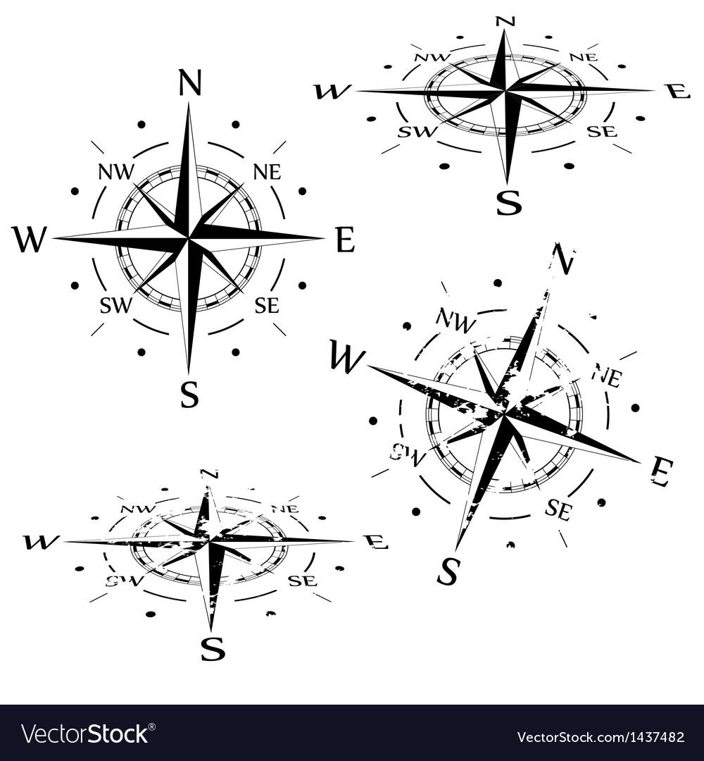 Grunge compass set vector