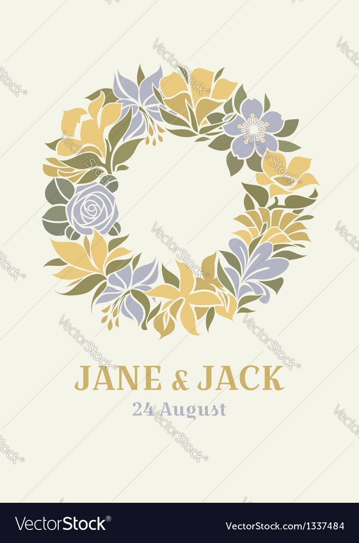 Wedding design with floral wreath vector