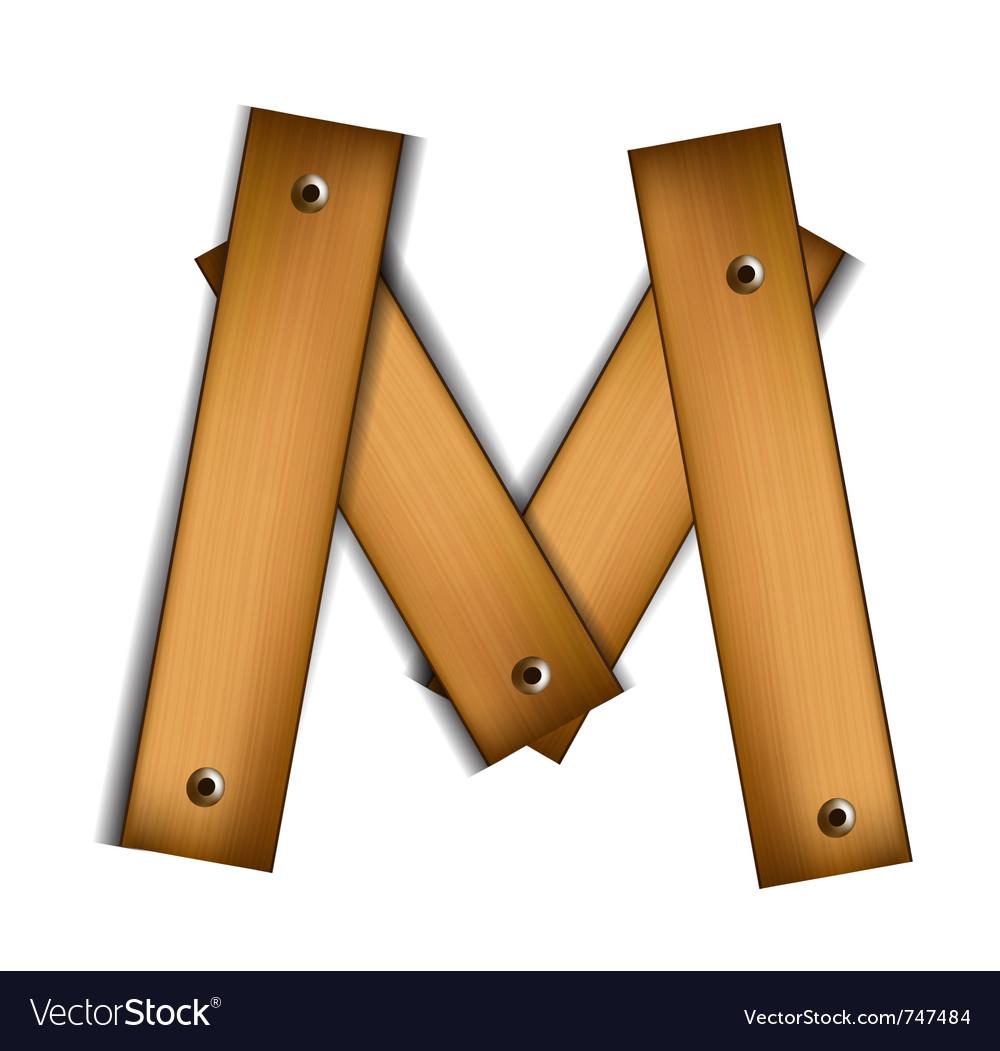 Wooden type m vector