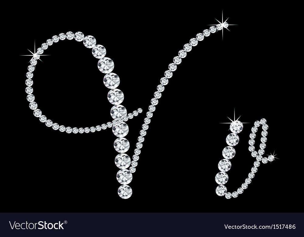 Diamond alphabetic letters of v vector