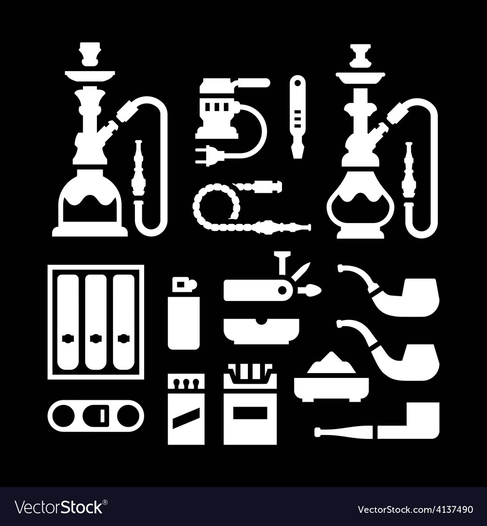 Set icons of smoking equipment and accessories vector