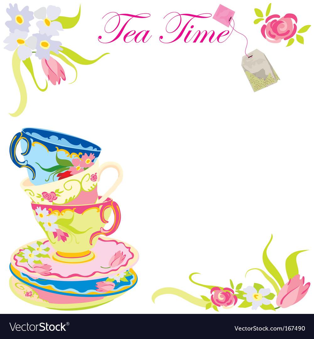 Tea time party vector