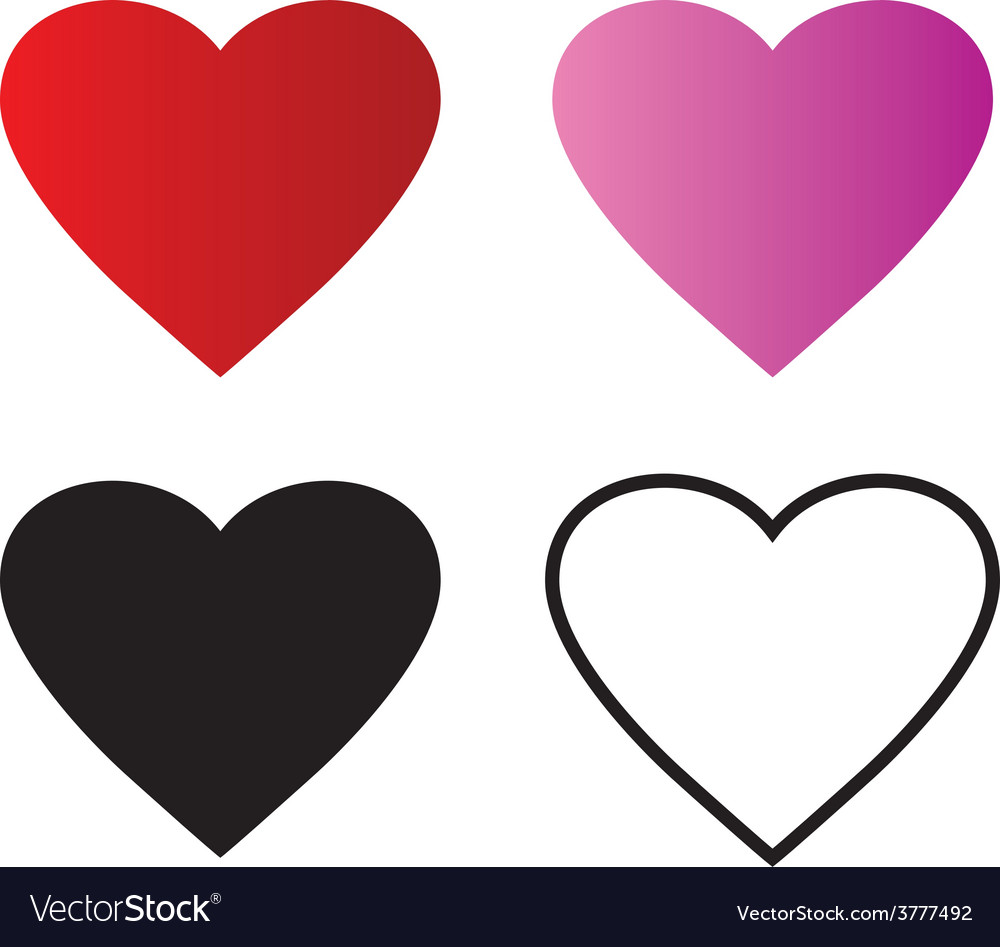 Basic red heart symbol shape outline vector