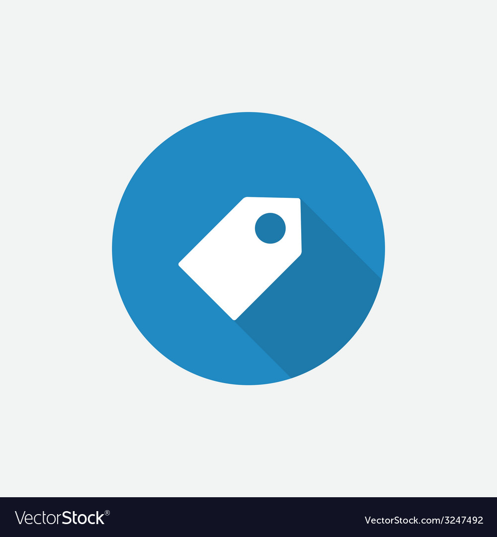 Tag flat blue simple icon with long shadow vector
