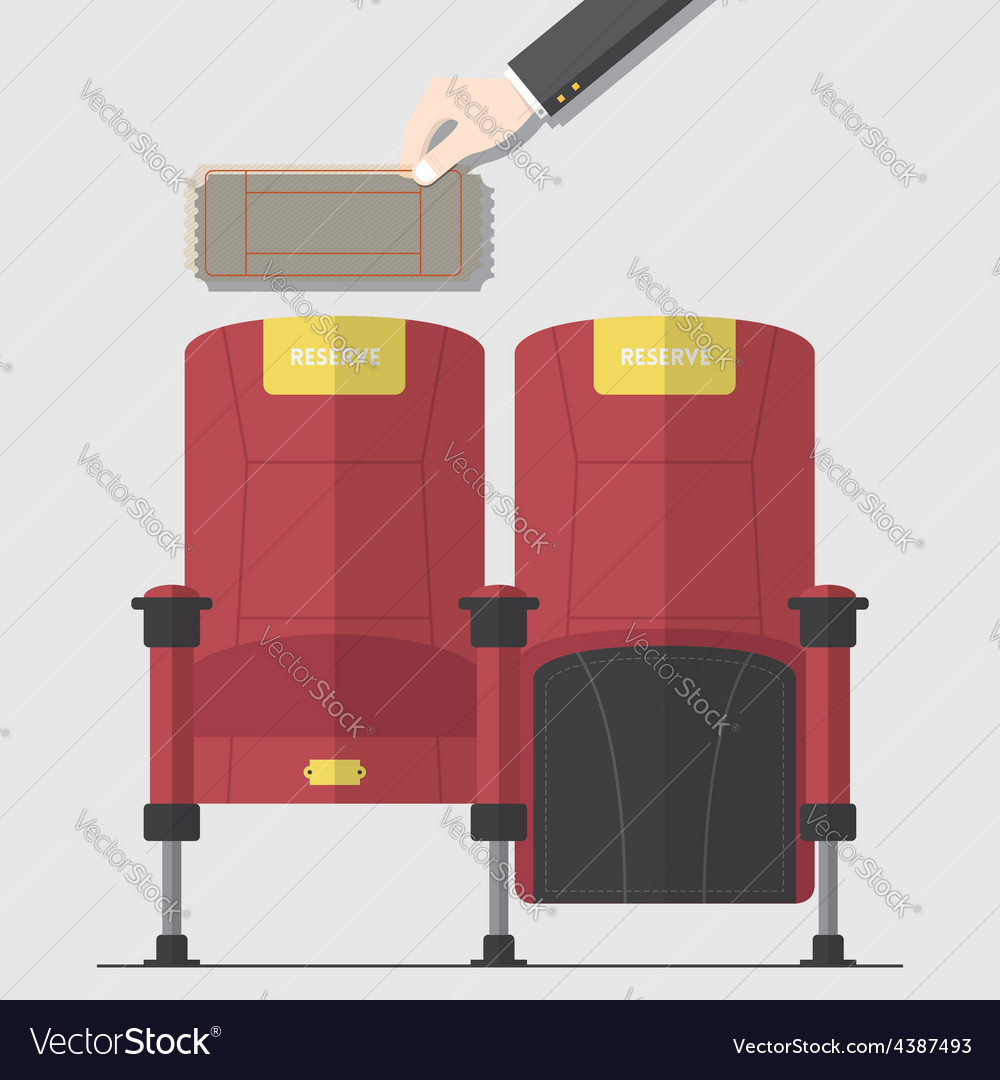 Cinema chair in flat design with blank ticket vector