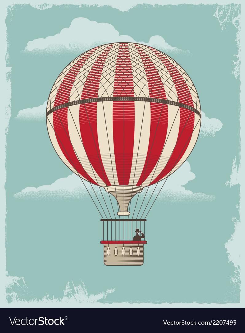 Vintage retro hot air balloon vector