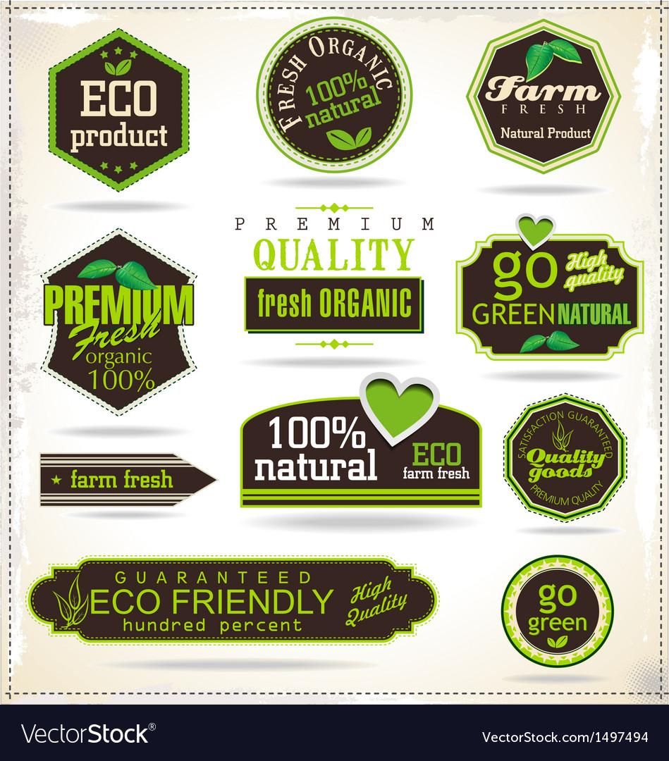 Set of organic labels vector