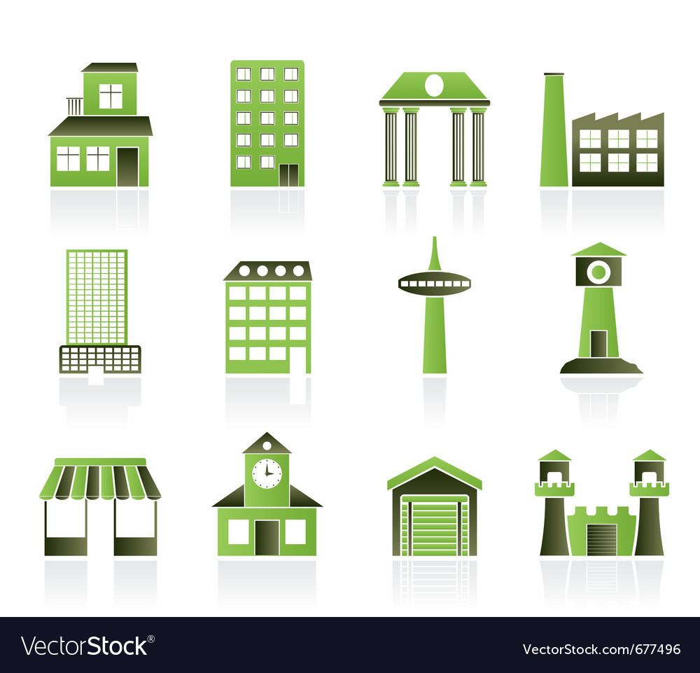 Building and city icons vector