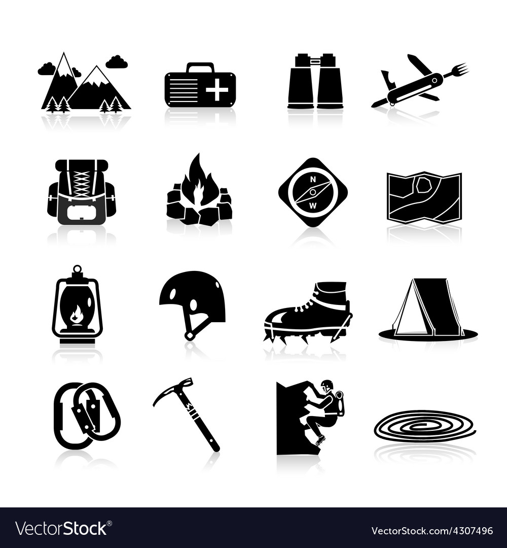 Climbing icons black vector