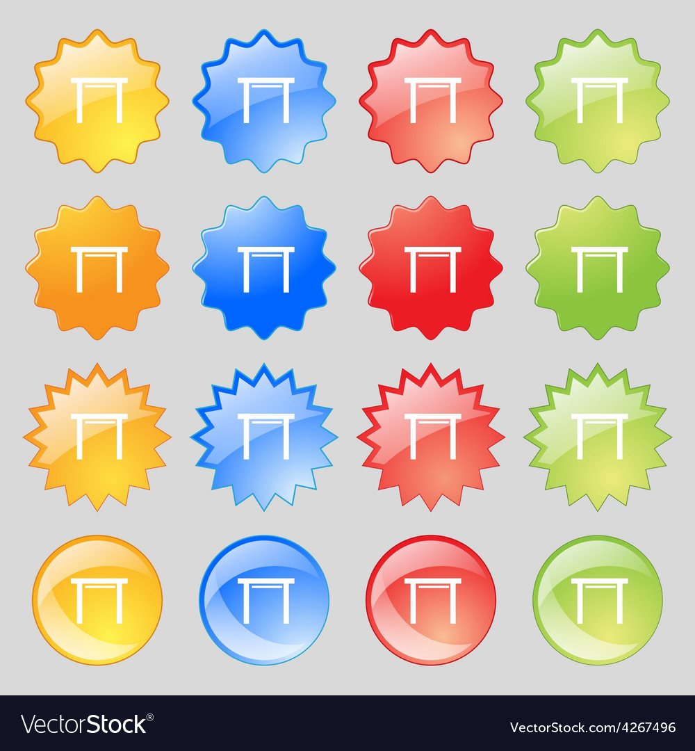 Stool seat icon sign big set of 16 colorful modern vector