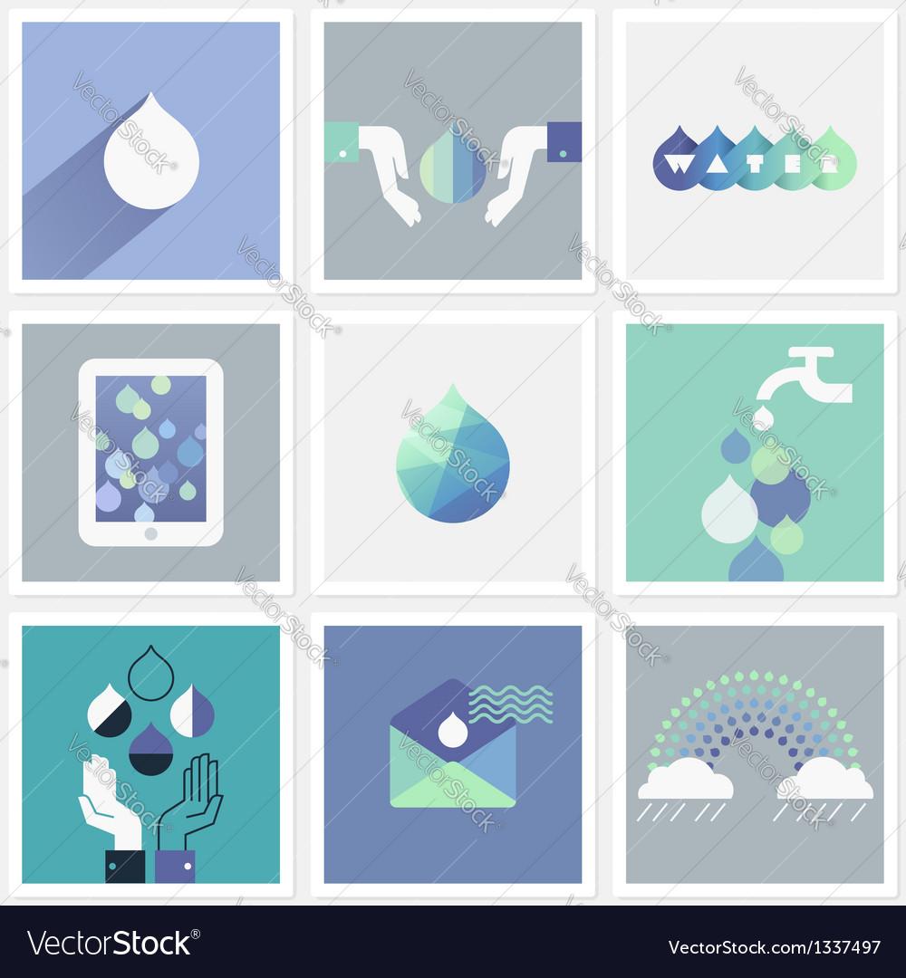 Drops of water - set of design elements vector