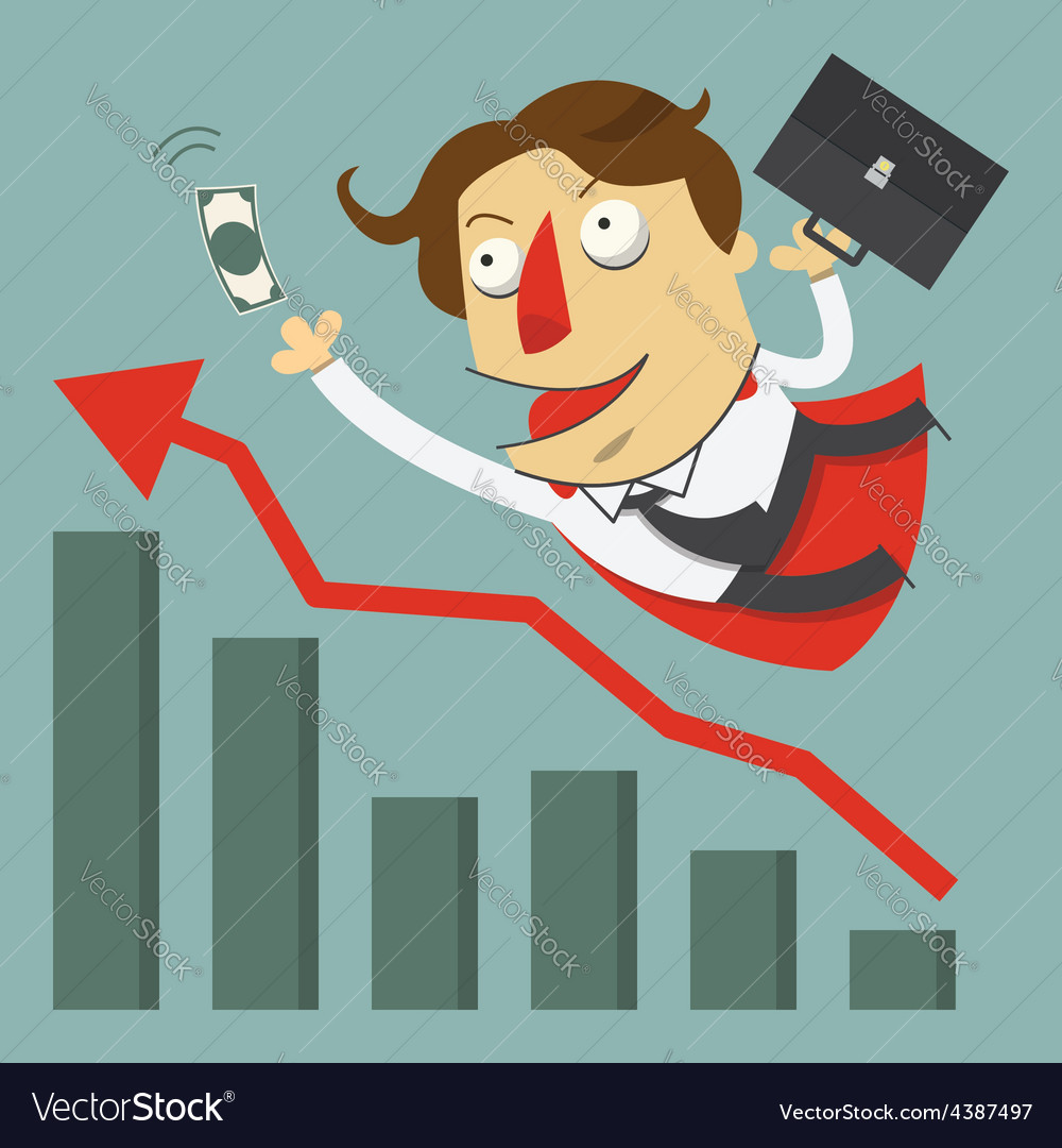 Flying businessman for success concept vector