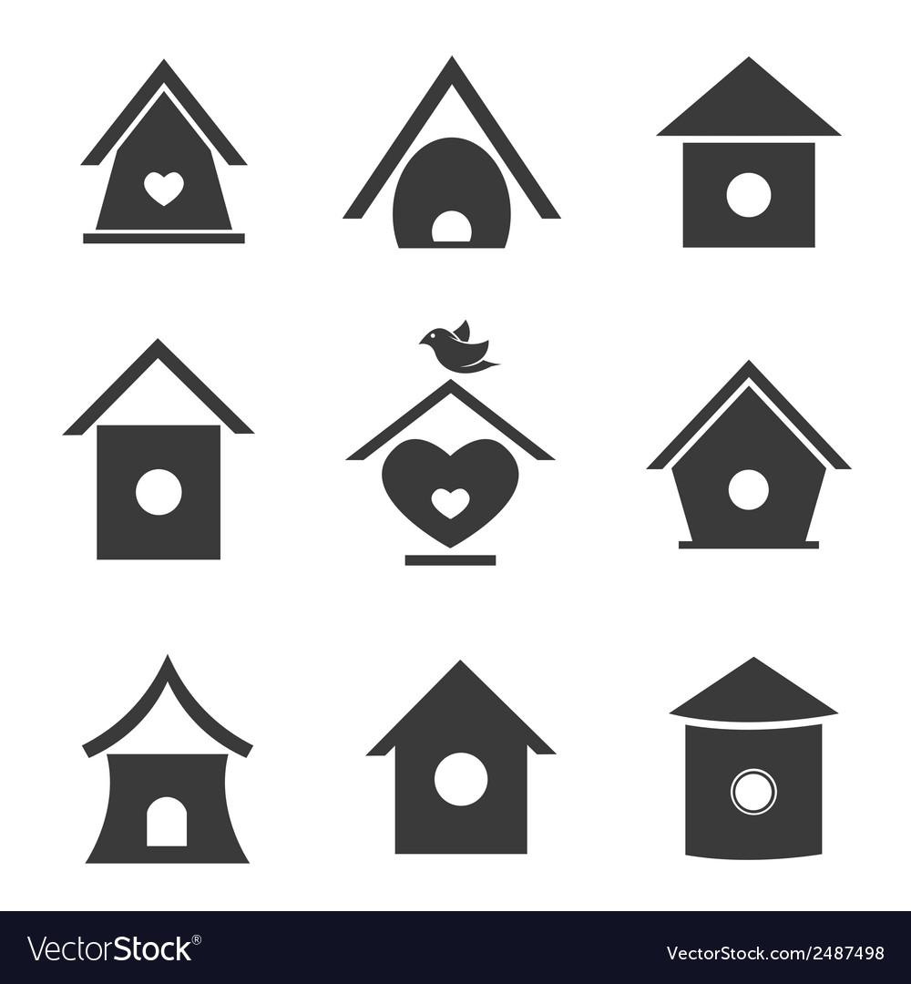 Group of bird houses vector