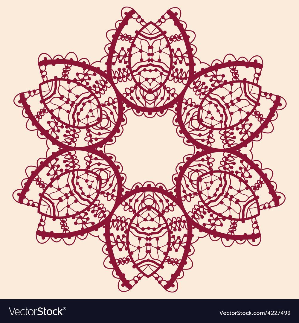 Stylized flower ornamental outline mandala vector
