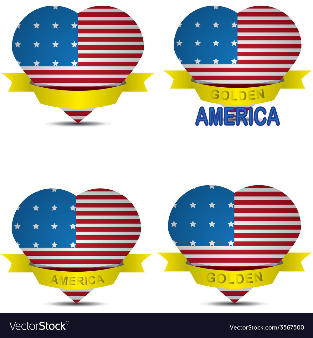 American flag in the shape of heart vector