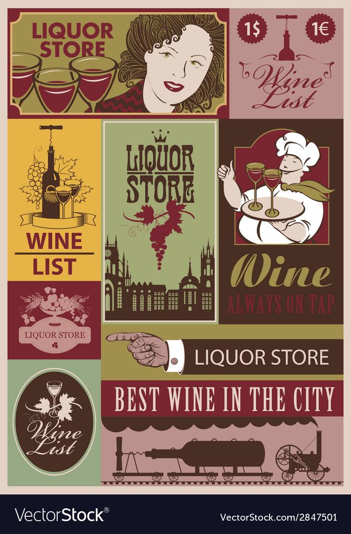 Wine retro set vector