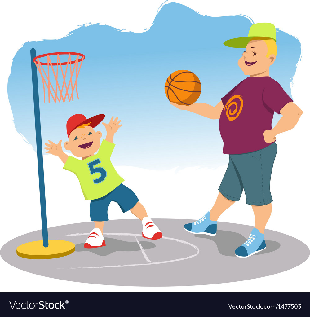 Father playing basketball with his son vector