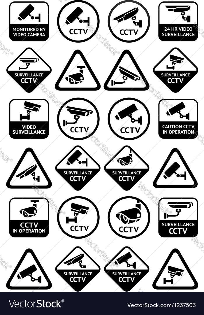 Video surveillance signs - big yellow and black vector