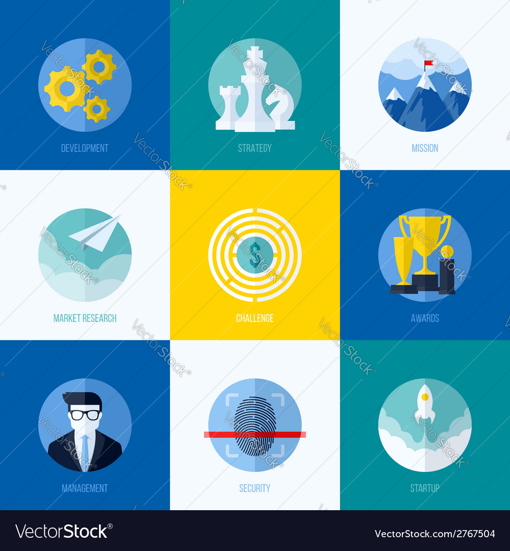 Icons of development strategy mission challenge vector