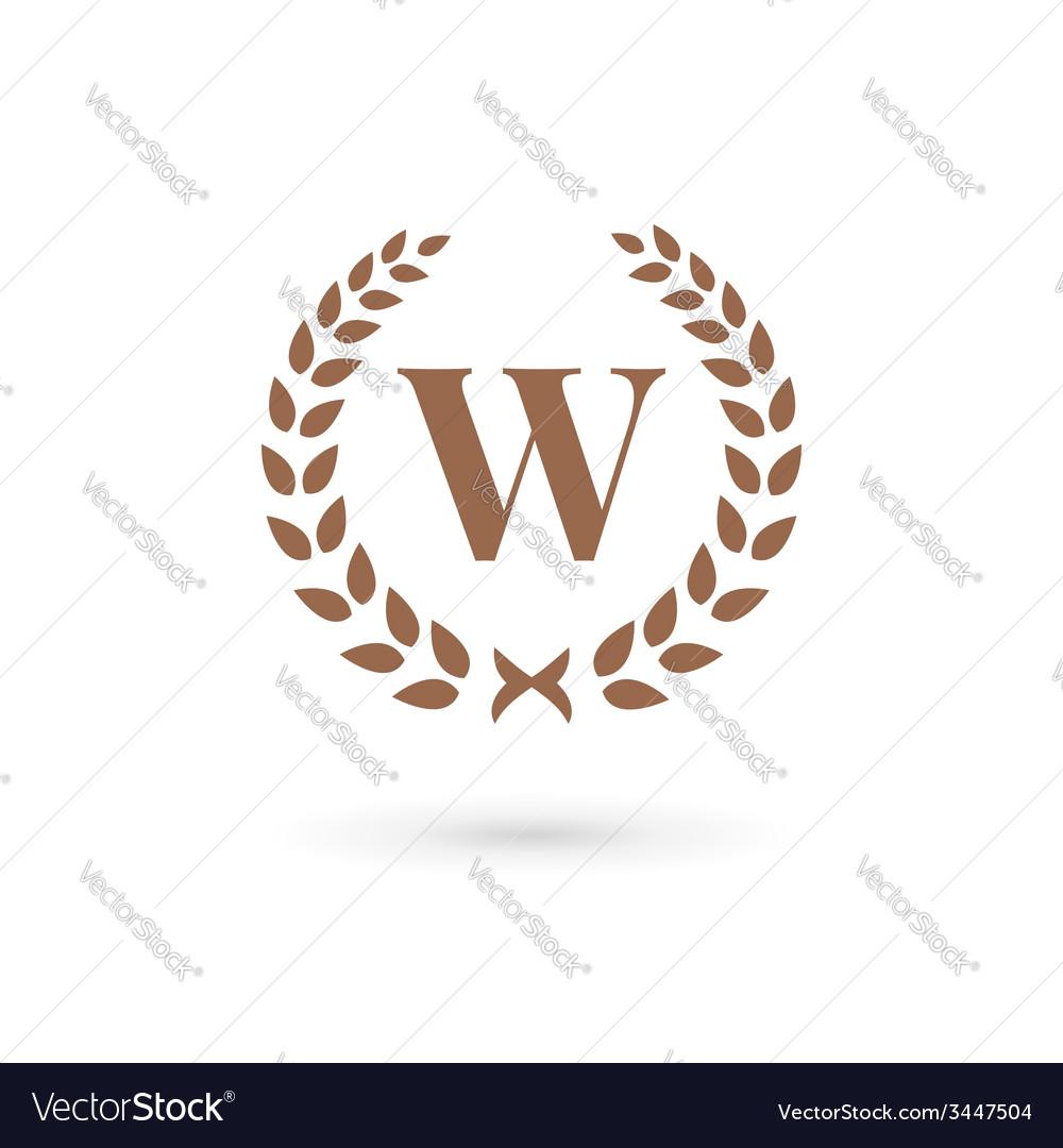 Letter w laurel wreath logo icon design template vector