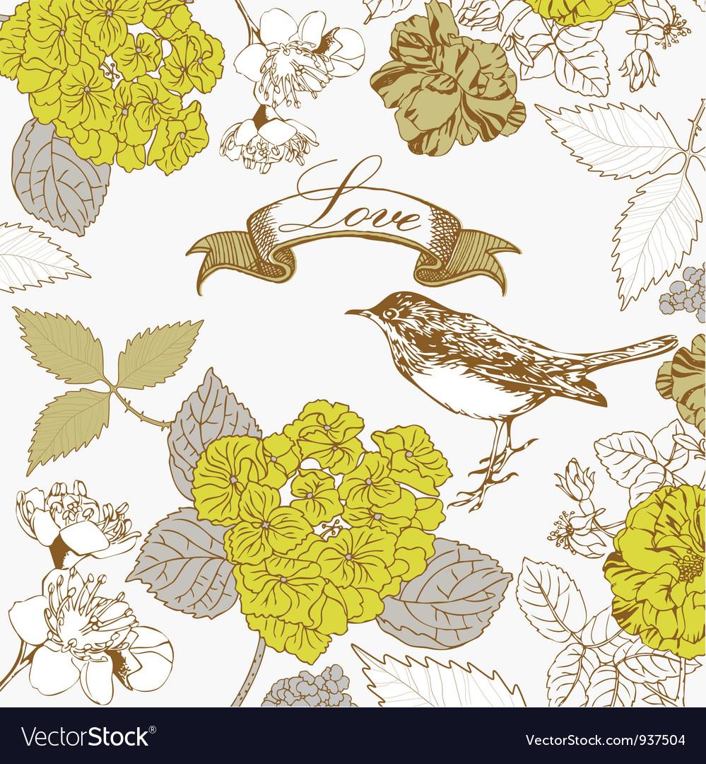 Vintage love birds pattern vector